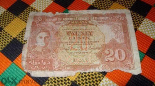 Malaya 20 Cents 1941
