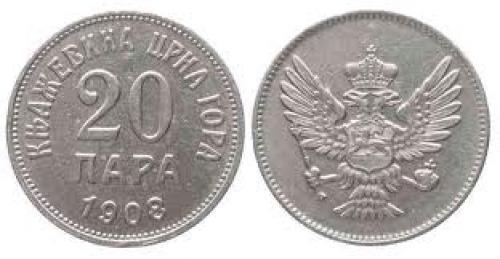 Coins; Montenegro  20 Para 1908