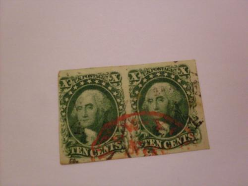 pair of 1855 u s postage ten cents stamps
