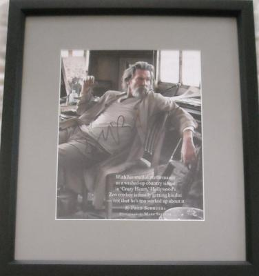 Jeff Bridges autographed full page magazine photo matted & framed