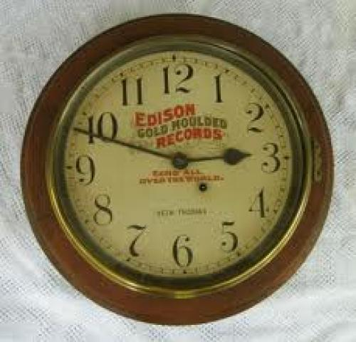Memorabilia; Edison Clock; Gold Moulded Records