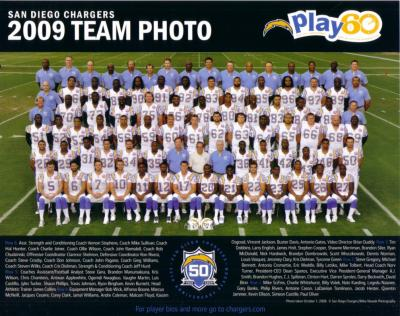 2009 San Diego Chargers 8x10 team photo (Philip Rivers LaDainian Tomlinson)