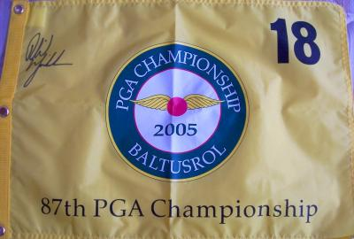 Phil Mickelson autographed 2005 PGA Championship golf pin flag