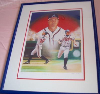 Chipper Jones autographed Atlanta Braves giclee art matted & framed #11/110