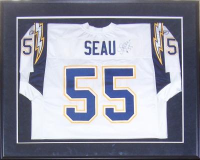 Junior Seau autographed San Diego Chargers authentic Reebok jersey matted & framed