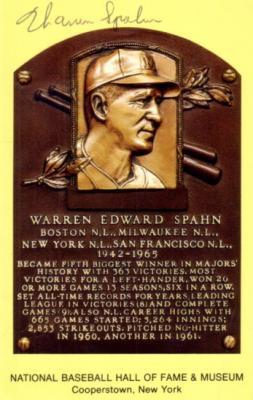 Warren Spahn autographed Baseball Hall of Fame plaque postcard