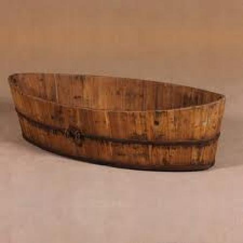 DECORATIVE ANTIQUE. Antique Barrel Container