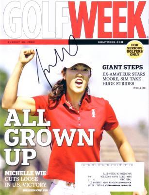 Michelle Wie autographed 2009 Solheim Cup Golf Week magazine
