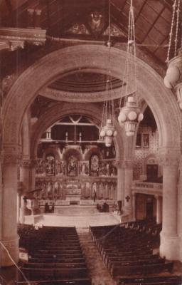 Stanford Memorial Church vintage sepia 1900s postcard