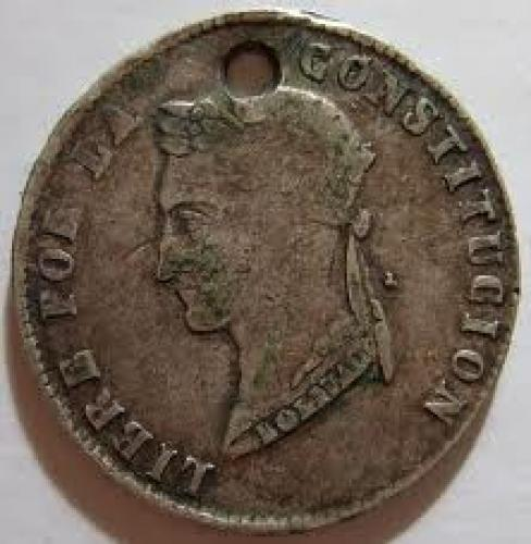 Coins; BOLIVIA, 1855 -HALF DOLLAR SIZED SILVER; Front image