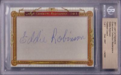 Eddie Robinson (Grambling) certified autograph 2011 Leaf Masterpiece Cut Signature card #1/1