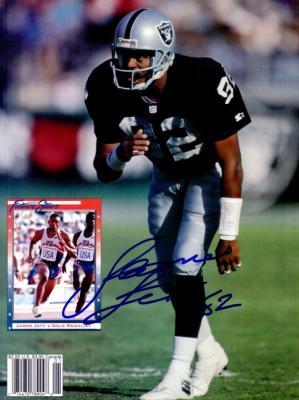 James Jett autographed Oakland Raiders Beckett Football back cover photo
