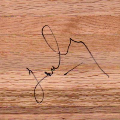 James Worthy (Lakers) autographed basketball 6x6 hardwood floor
