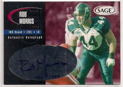 Rob Morris BYU certified autograph 2000 Sage card