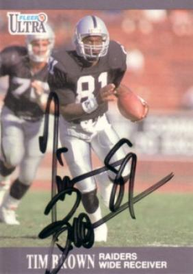 Tim Brown autographed Oakland Raiders 1991 Ultra card
