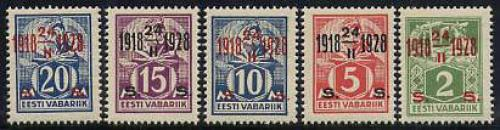 Definitives, overprinted 5v; Year: 1928