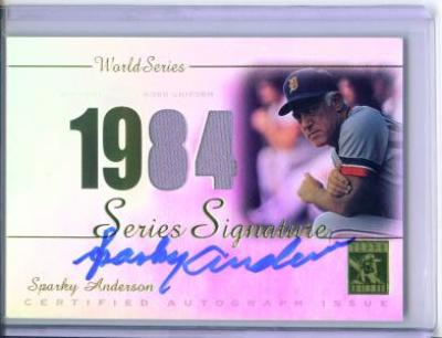 Sparky Anderson certified autograph game jersey Detroit Tigers 2003 Topps card