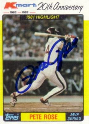 Pete Rose autographed Phillies NL Hit Record 1982 Topps Kmart MVP card