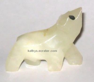 Miniature Onyx White Polar Bear Animal Figurine