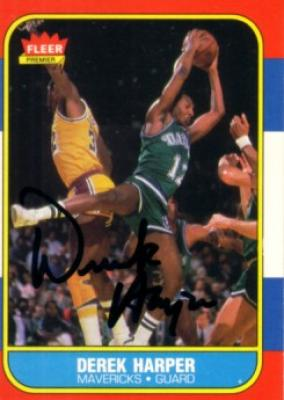 Derek Harper autographed Dallas Mavericks 1986-87 Fleer card