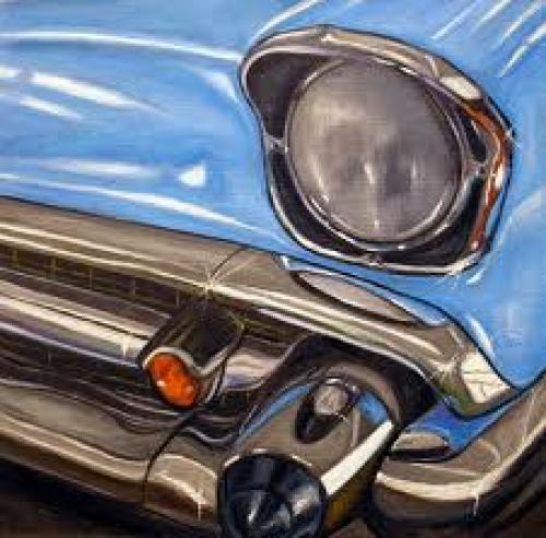 Art:Paintings; 1950s-classic-blue-chevy-painting.