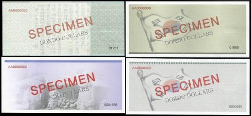 DOKDO ISLAND KOREA SET 4 PCS 100-1000000 DOKDO DOLLARS SPECIMEN 2010-2013 UNC