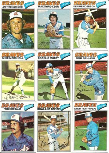 (10) 1977 Topps Braves Commons