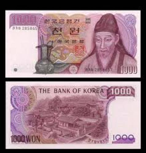 Banknotes; 1000 WON Banknote of SOUTH KOREA 1983