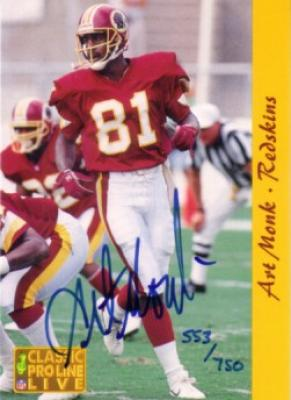 Art Monk certified autograph Washington Redskins 1993 Pro Line card #553/750