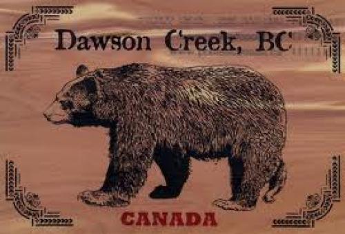 Canada Wooden Postcard Dawson Creek. Black Bear
