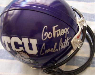 Gary Patterson autographed TCU mini helmet inscribed Go Frogs