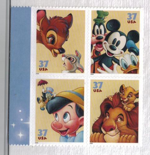 Scott # 3865-68 Disney Friendship Plate Block of 4
