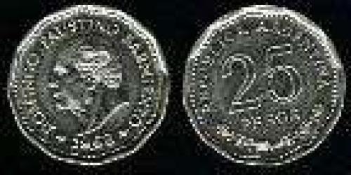 25 Pesos; Year: 1968; (km 63); Nickel-Clad-Steel; 80 ANVO. MUERTE DE SARMIENTO