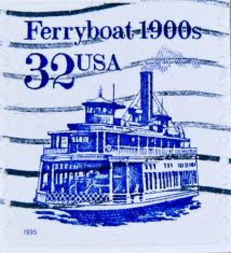 Stamps;Old stamp USA 32 c cent postage Ferryboat 1900s