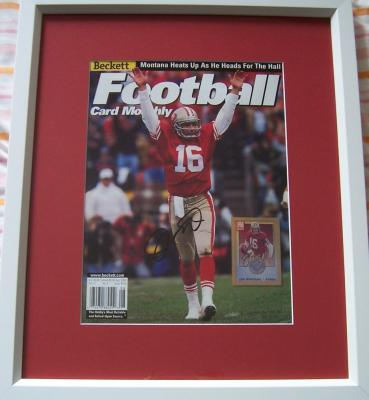 Joe Montana autographed San Francisco 49ers Beckett Football cover matted &amp; framed