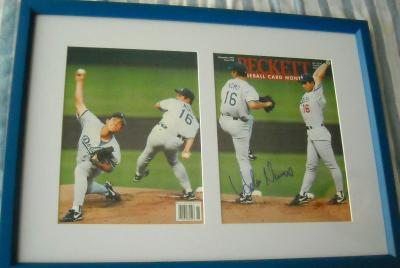 Hideo Nomo autographed Los Angeles Dodgers Beckett Baseball cover matted & framed