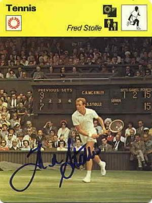 Fred Stolle autographed 1979 4x6 Sportscaster tennis card