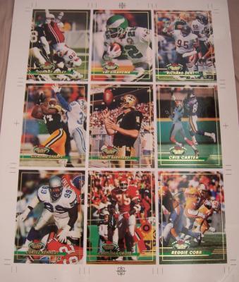 1993 Stadium Club promo card sheet (Cris Carter Richard Dent Sterling Sharpe)