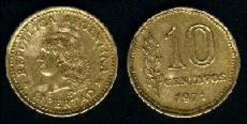 10 Centavos 1970-1976 (km 66); LIBERTAD LAUREL