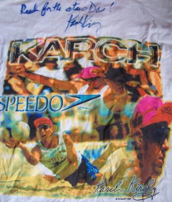 Karch Kiraly autographed volleyball Speedo T-shirt (to Dave)