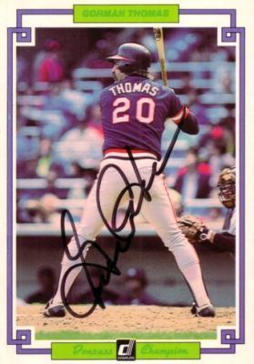 Gorman Thomas autographed Milwaukee Brewers 1984 Donruss jumbo card