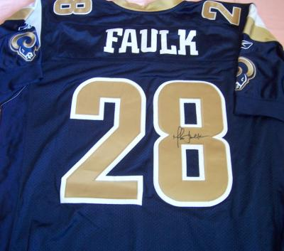Marshall Faulk autographed St. Louis Rams Reebok authentic game model jersey