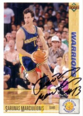 Sarunas Marciulionis autographed Golden State Warriors 1991-92 Upper Deck card