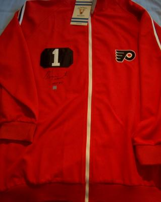 Bernie Parent autographed Philadelphia Flyers Mitchell & Ness throwback warmup jersey