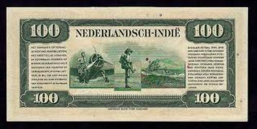 Netherlands Indies paper money 100 Gulden, 1943 Issue; Back image