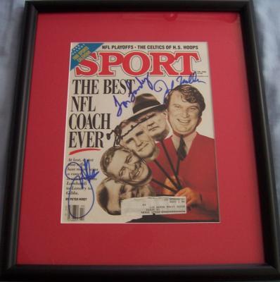Joe Gibbs Tom Landry John Madden Don Shula autographed Sport Magazine cover framed