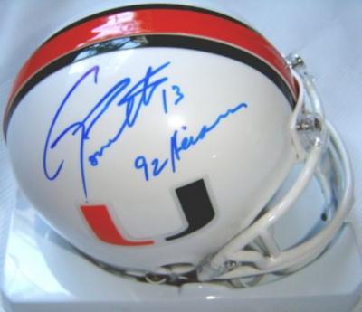 Gino Torretta autographed Miami Hurricanes mini helmet inscribed 92 Heisman (TriStar)