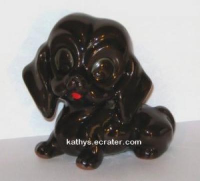 Redware Brown Drip Dachshund Dog Animal Figurine