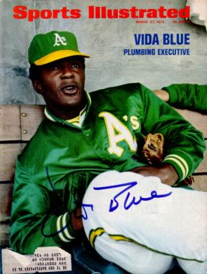 Vida Blue autographed Oakland A's 1972 Sports Illustrated