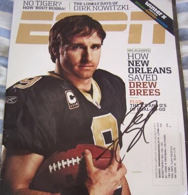 Drew Brees autographed New Orleans Saints 2010 ESPN The Magazine